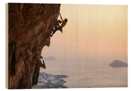 Wood print  Climber on Kalymnos - Greece