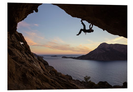 Foam board print  Climber in a cave at sunset