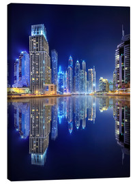 Canvas print  Dark blue night - Dubai Marina bay
