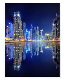 Premium poster Dark blue night - Dubai Marina bay