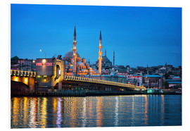 Foam board print  Galata Bridge at night in Istanbul