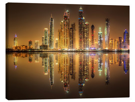 Canvas print  Reflections in Dubai marina bay