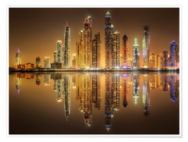 Premium poster  Reflections in Dubai marina bay
