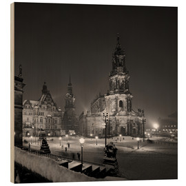 Wood print  Dresden Hofkirche in winter