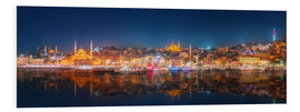 Foam board print  Istanbul and Bosporus at night