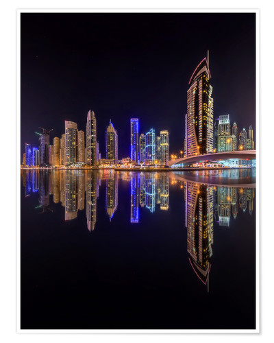 Premium poster Dubai marina at night