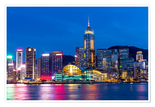 Premium poster Hong Kong famous night view