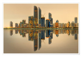 Premium poster Abu Dhabi skyline at sunrise