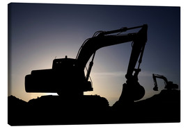 Canvas print  Two excavators