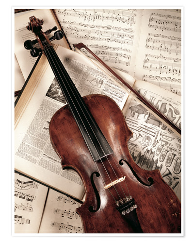 Premium poster Violin on music book