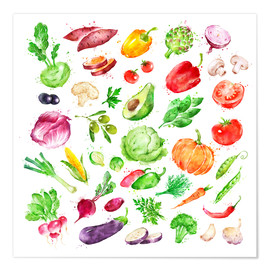 Poster Fruits and vegetables watercolor
