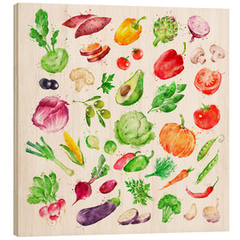 Wood print  Fruits and vegetables watercolor