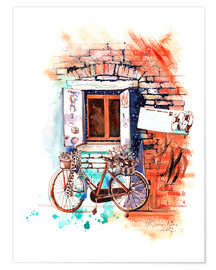 Premium poster Italian bike near the window