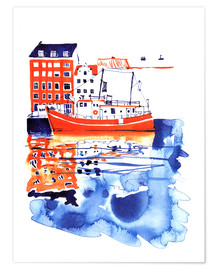 Premium poster Copenhagen canal and harbour