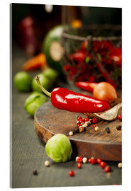 Acrylic print  Chilli pepper and cooking ingredients