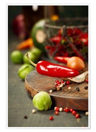 Premium poster Chilli pepper and cooking ingredients