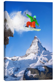 Canvas print  Snowboarder in front of Matterhorn