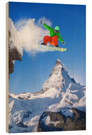 Wood print  Snowboarder in front of Matterhorn