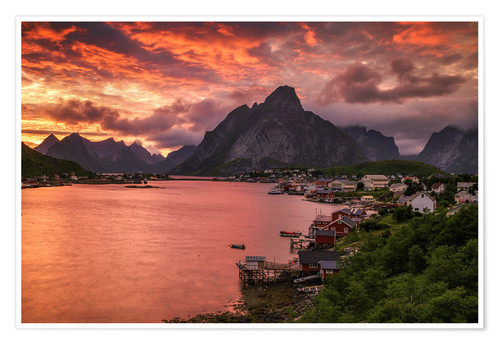 Premium poster Lofoten sunset in Reine