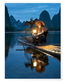 Premium poster Old cormorant fisherman in Guilin, China