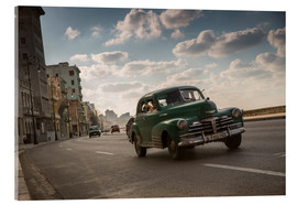 Acrylic print  Cuban american car driving through Havana, Cuba. - Alex Saberi