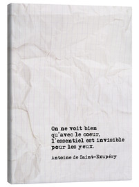 Canvas print  You only see well with your heart (French) - Typobox