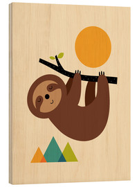 Wood print  Keep calm And live slow - Andy Westface