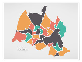 Premium poster Karlsruhe city map modern abstract with round shapes