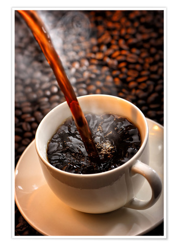 Premium poster Pouring cup of hot coffee