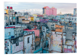 Foam board print  Authentic view of a street of Old Havana
