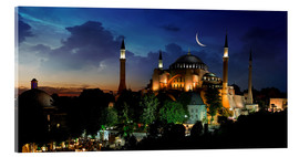 Acrylic glass  View of Hagia Sophia after sunset