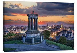 Canvas print  Edinburgh against sunset with Calton Hill