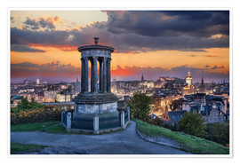 Premium poster  Edinburgh against sunset with Calton Hill
