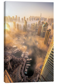 Canvas print  Dubai Marina covered in early morning fog