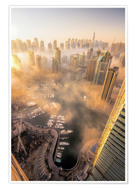 Premium poster  Dubai Marina covered in early morning fog