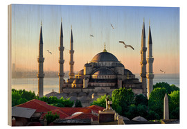 Wood print  The blue mosque in Istanbul