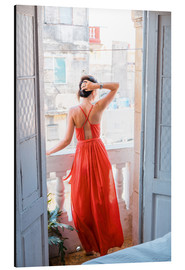 Aluminium print  Young attractive woman in red dress