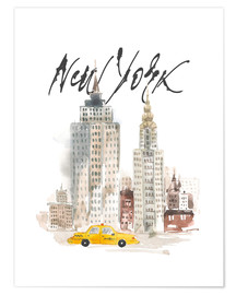 Premium poster  New York skyscrapers, watercolour