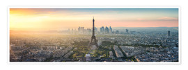 Premium poster Paris skyline with Eiffel tower at sunset