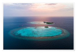 Premium poster  Islands at sunset in the Maldives - Matteo Colombo