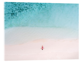 Acrylic print  Drone view of woman on the beach, Maldives - Matteo Colombo