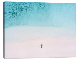 Canvas  Drone view of woman on the beach, Maldives - Matteo Colombo