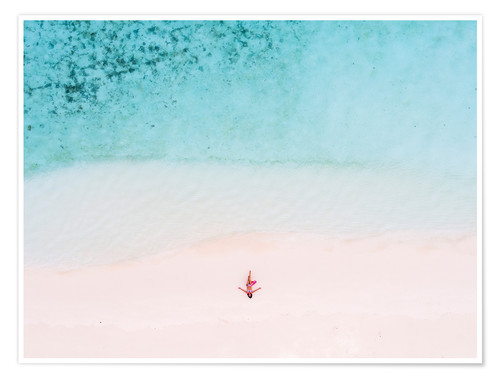 Premium poster Drone view of woman on the beach, Maldives