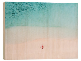 Wood print  Drone view of woman on the beach, Maldives - Matteo Colombo
