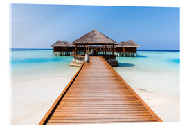 Acrylic print  Jetty and overwater bungalows, Maldives - Matteo Colombo