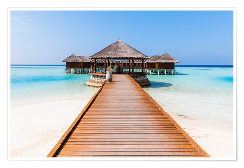 Premium poster Jetty and overwater bungalows, Maldives