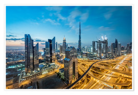 Premium poster  Dubai City lights - Dieter Meyrl