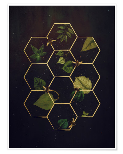 Premium poster bees in space