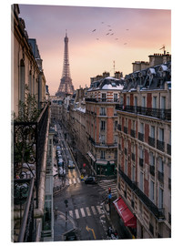 Acrylic print  Street in Paris with Eiffel tower at sunset - Jan Christopher Becke