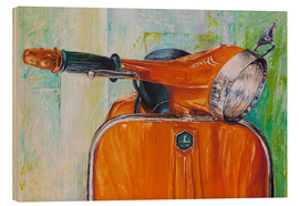 Wood print  Vespa orange - Renate Berghaus